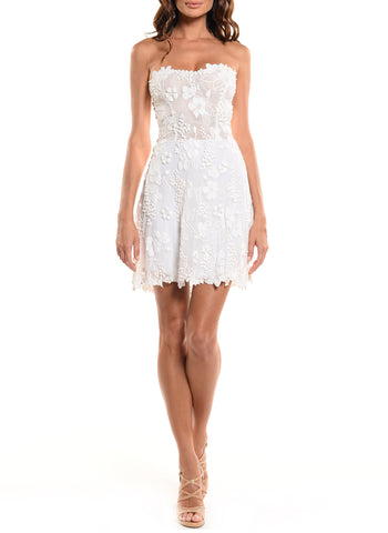 Mid Length Strapless Corset Back Lace Dress