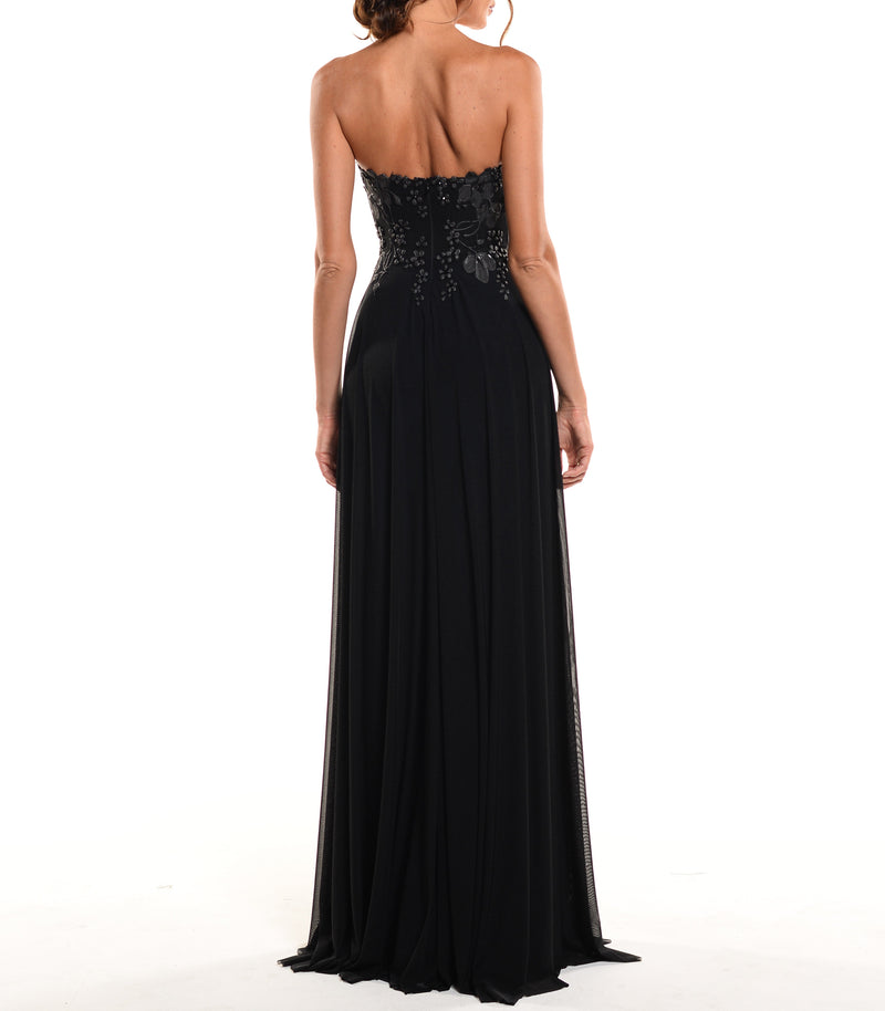 Floor Length Strapless Corset Zip Back Gown - D1223WA - ENGLISH GARDEN