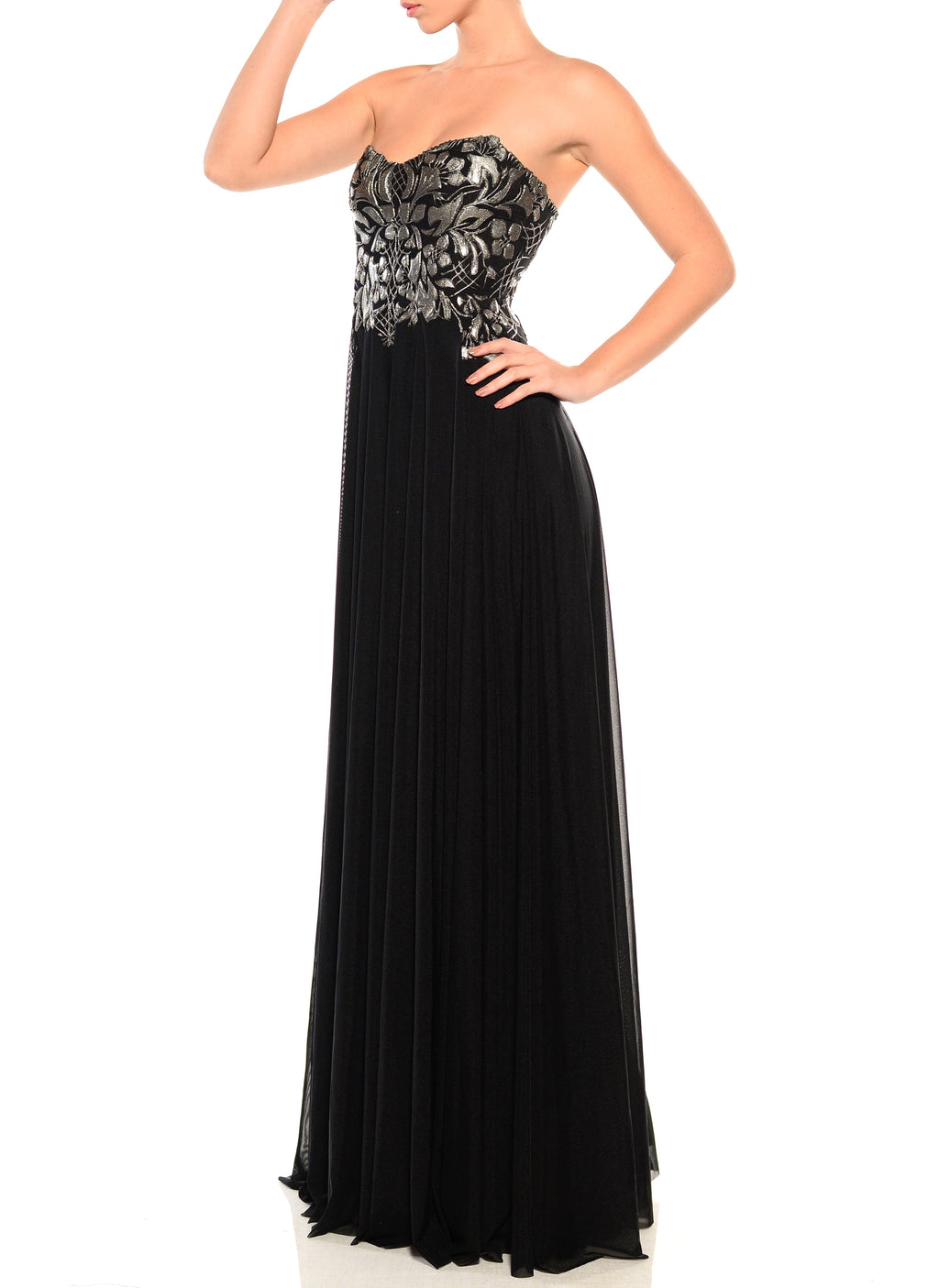 Floor Length Strapless Sweetheart Dress - D1223WA - TRIBAL SMALL