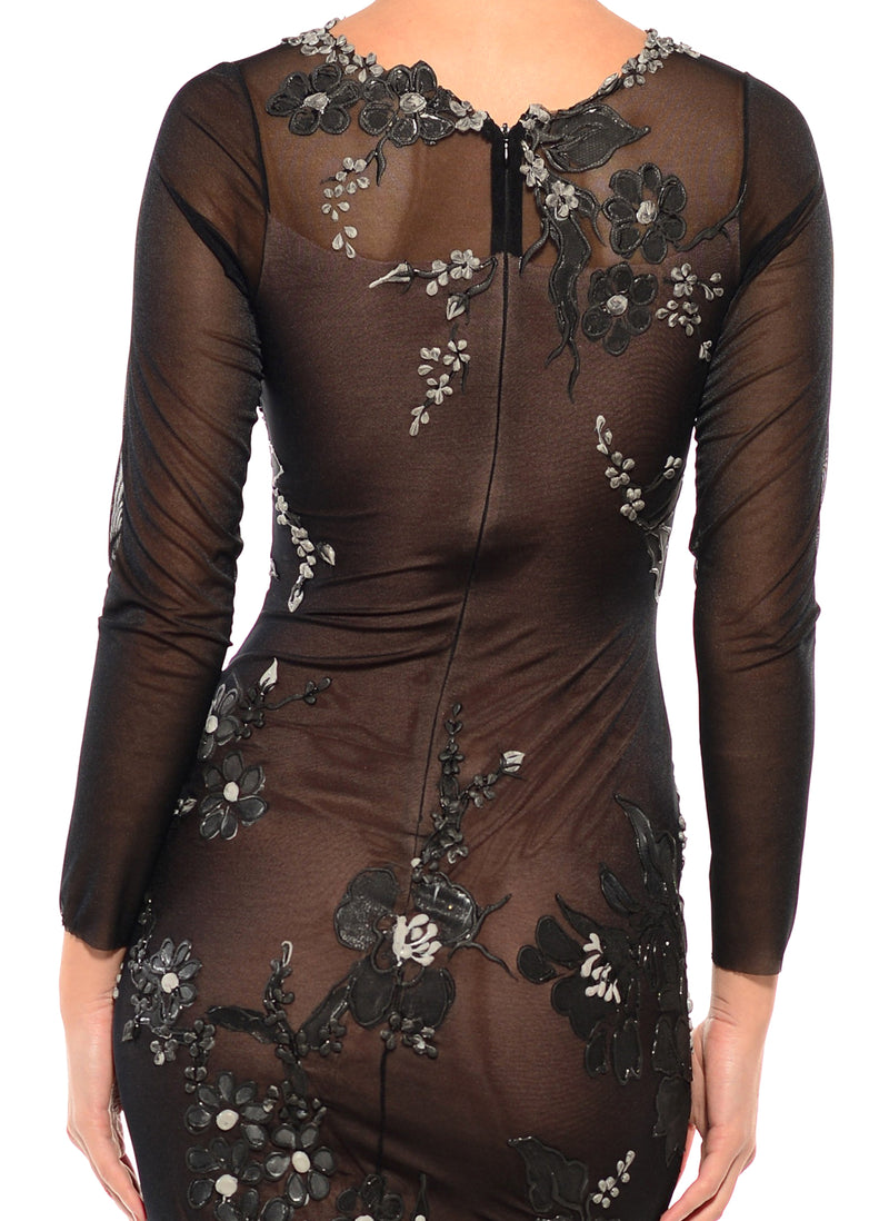 Knee Length Jewel Neck Long Sleeve Dress - D1404B - BOTANICA COMBO