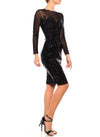 Knee Length Jewel Neck Long Sleeve Dress - D1404B - ZAHA