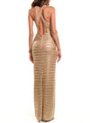 Floor Length Deep V-Neck Cross Back Gown - D1517A - CROCODILE