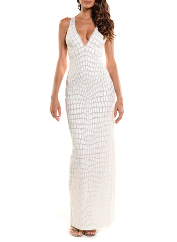 Knee Length Deep V-Neck Cross Back Dress - D1517B - TRIBAL SMALL