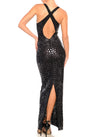 Floor Length Deep V-Neck Cross Back Slim Dress