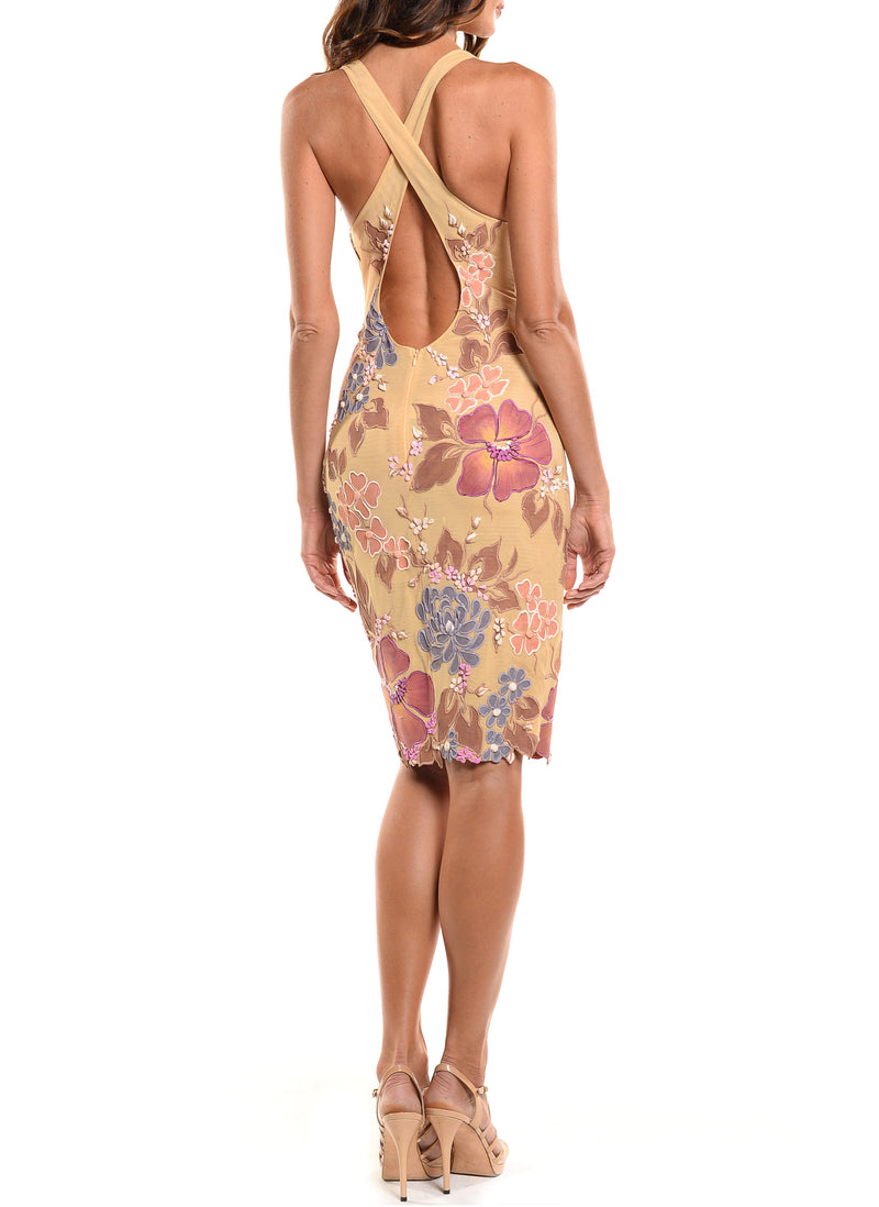 Knee Length Deep V-Neck Cross Back Dress - D1517B - BOTANICA