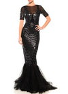 Floor Length Double V-Neck Gown With Godet Skirt