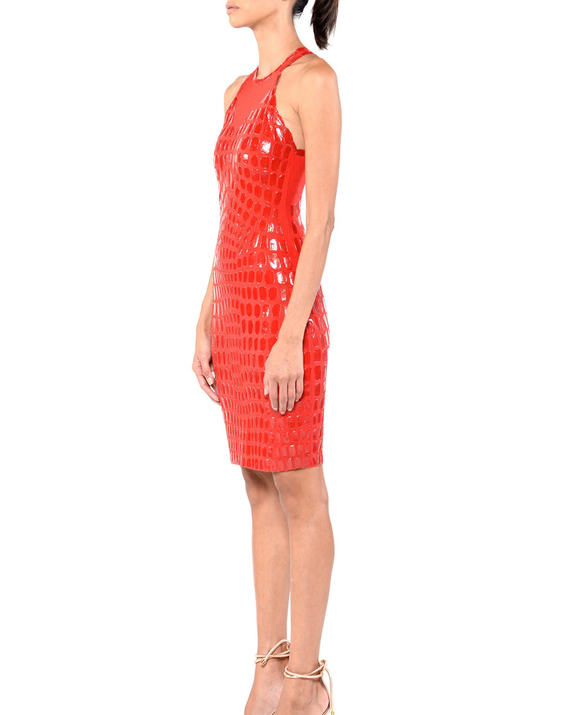 Knee Length Halter Dress - D1611B - CROCODILE RED