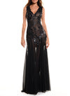 Floor Length Double V-Neck Gown With Godet Skirt - D0810CA - MYSTIQUE
