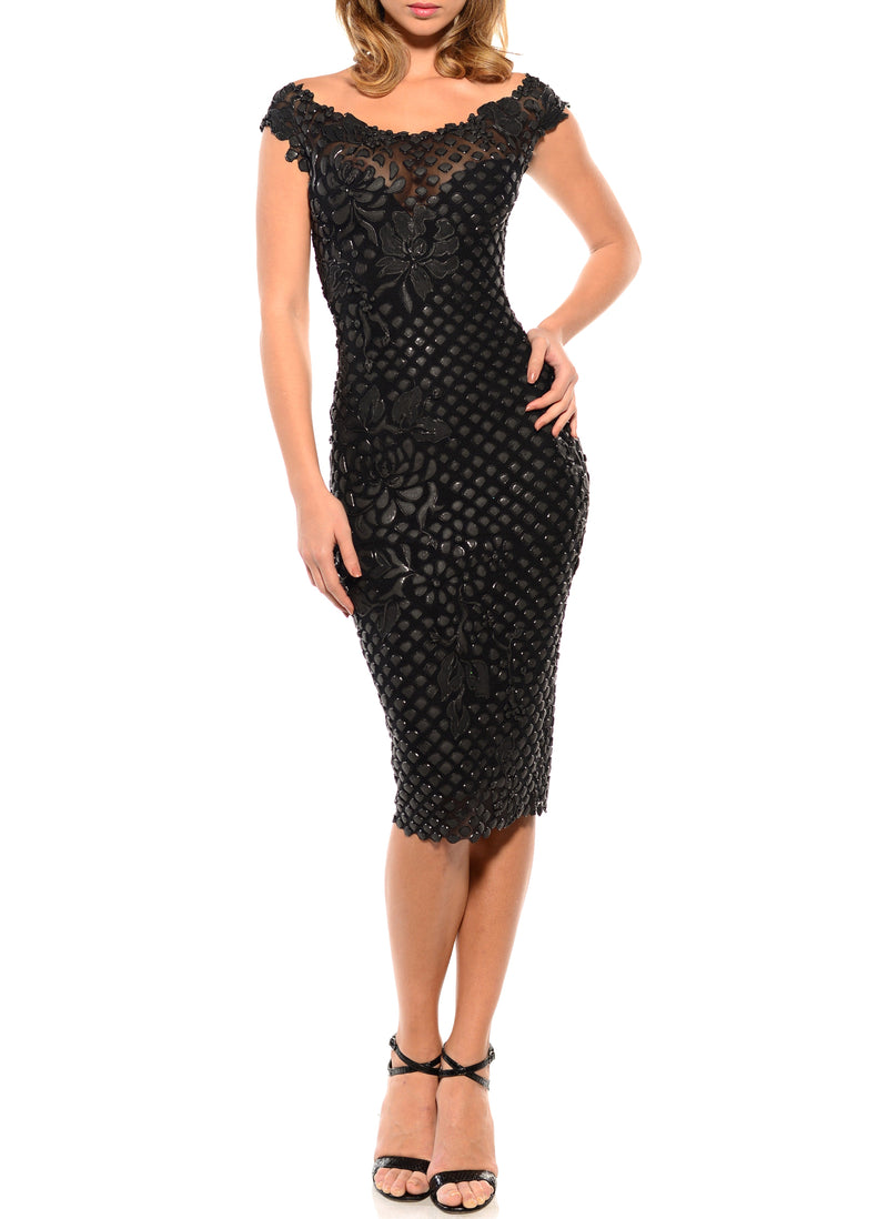 Knee Length Off The Shoulder Dress - D1760B - BLACK FISHSCALE 17