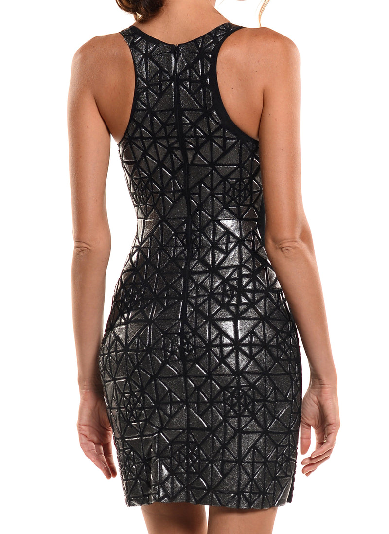 Mini Length Deep V-Neck Full Back Dress - D1777C - SACRED CODES