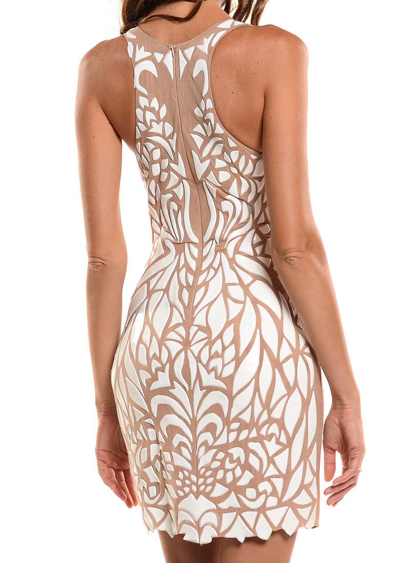 Mid Length Deep V-Neck Full Back Dress