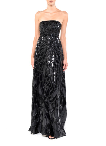 Floor Length High Neck Double Strap Back Gown