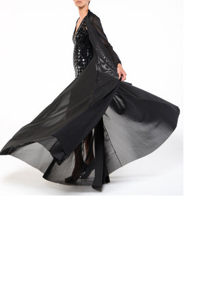 Floor Length Cover Up/Duster - DG1899A - BLACK