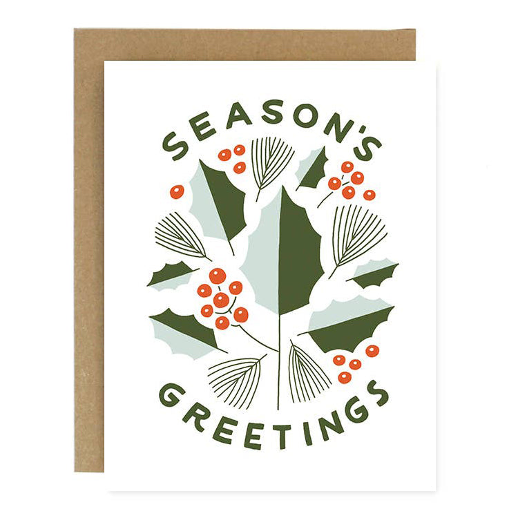 Season's Greetings Holly Card