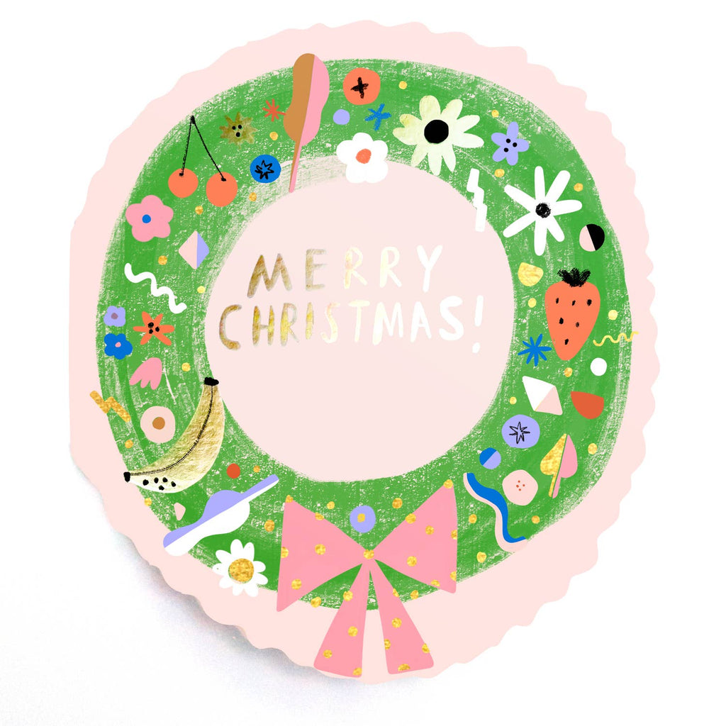Christmas Wreath Diecut Card