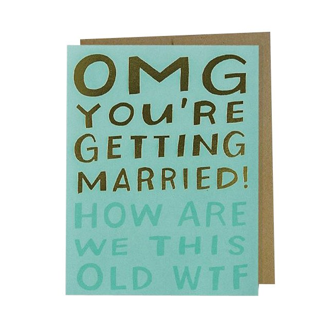 Greeting Cards - OMG Married WTF Card