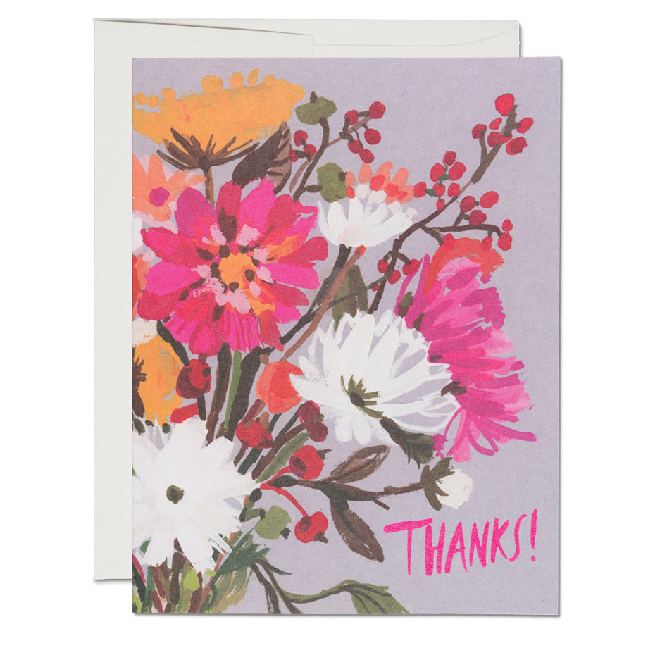 Vintage Bouquet Thanks Card