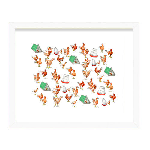 Art Prints - Pleasant Hill Chickens Print