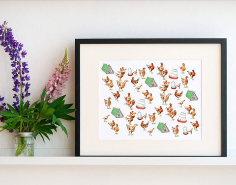 Pleasant Hill Chickens Print