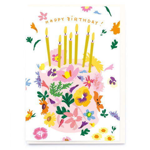 Floral Birthday Cake Card