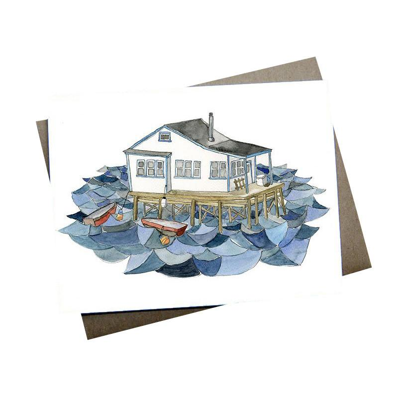Greeting Cards - House On Water Card