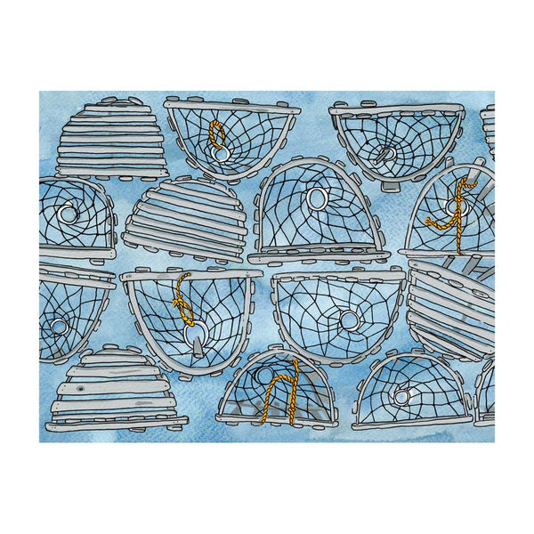 Greeting Cards - Lobster Traps Postcard