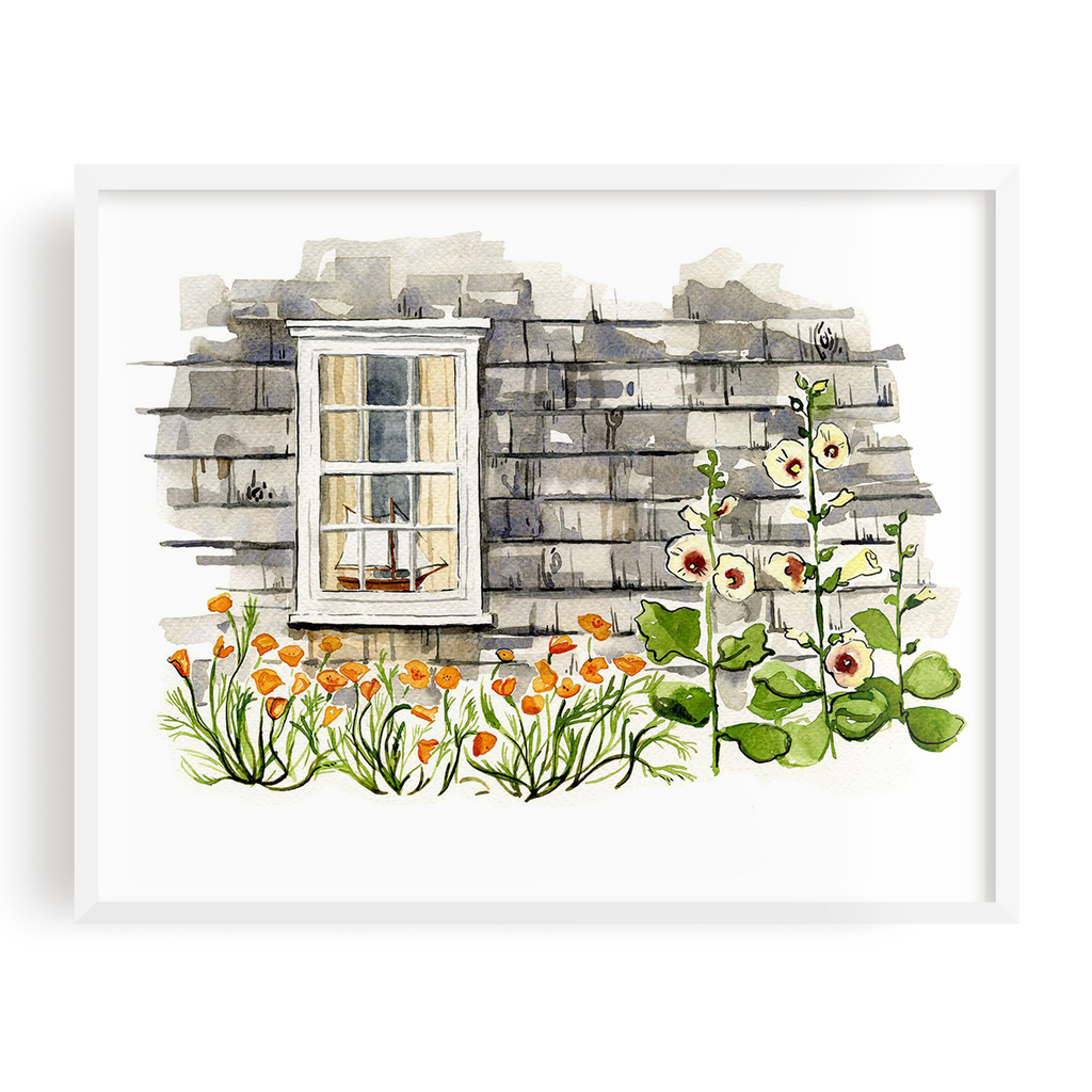 Hollyhocks & Poppies Print