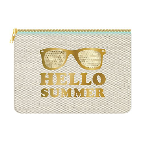 Hello Summer Canvas Zip Bag