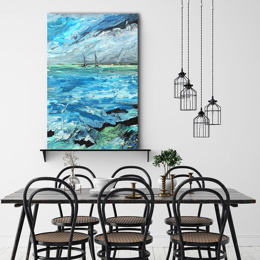 Aquamarine Tides - Canvas Print by Cheryl Wigley