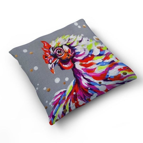 Funky Chicken - Cushion by Bridget Skanski-Such