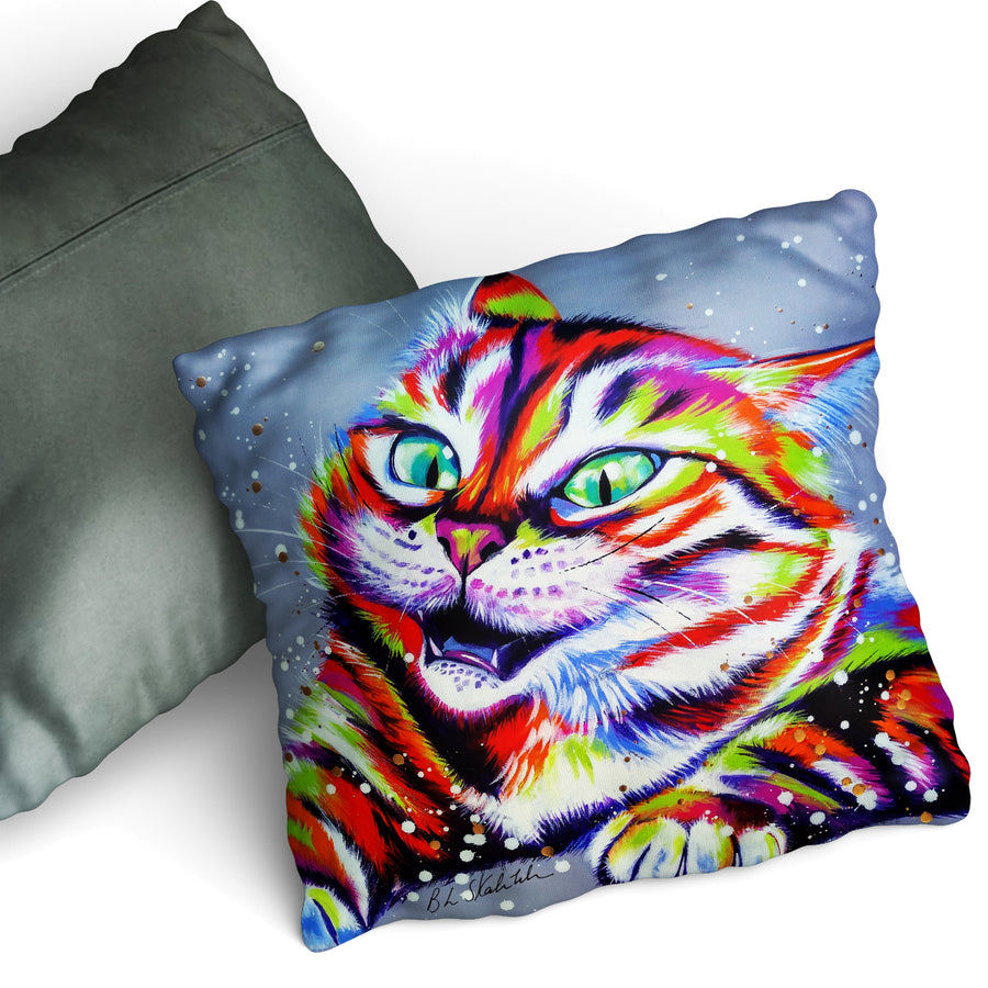 Monster Cat - Cushion by Bridget Skanski-Such