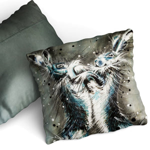 When The Fur Flies - Cushion by Bridget Skanski-Such