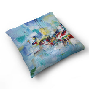Abstract Boat Cushion by Cheryl Wigley