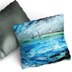 Aquamarine Tides - Cushion by Cheryl Wigley