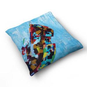 Blues - Cushion by Cheryl Wigley