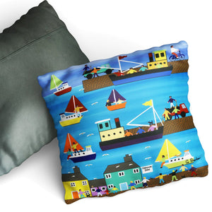 A Day At The Harbour - Cushion by Gordon Barker