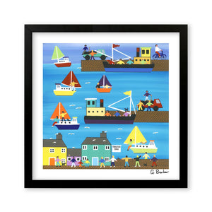 A Day At The Harbour - Art Print by Gordon Barker