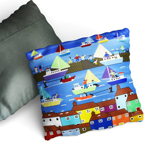 Summer Harbour - Cushion by Gordon Barker