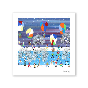 Balloons In The Snow - Art Print by Gordon Barker