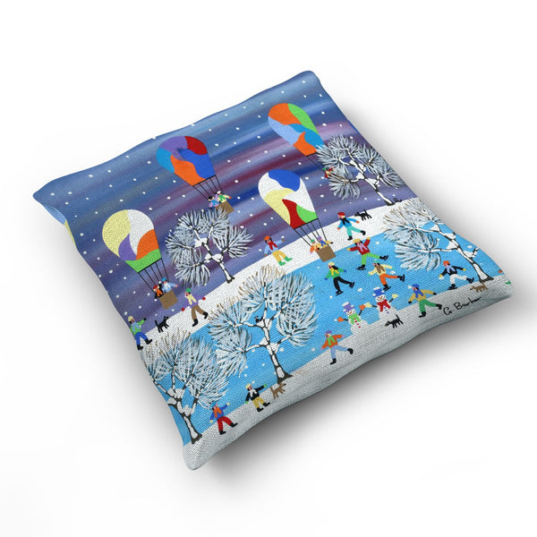 Balloons In The Snow - Cushion by Gordon Barker