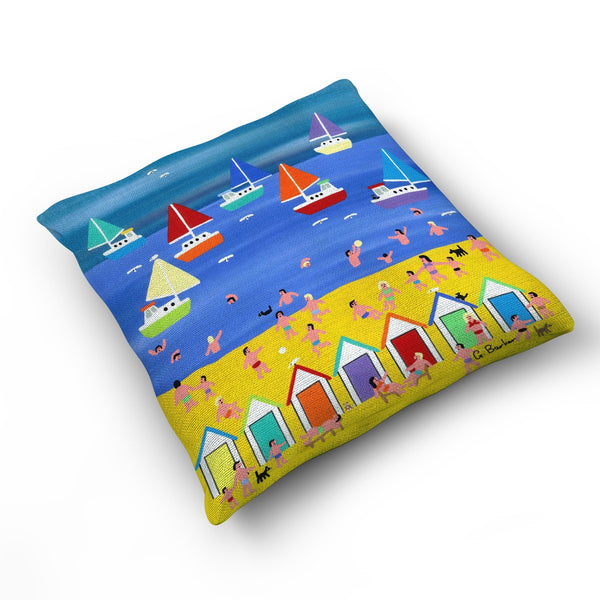 At The Beach Hut - Cushion by Gordon Barker
