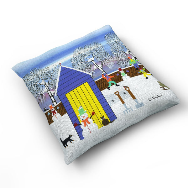 Fun In The Snow - Cushion by Gordon Barker