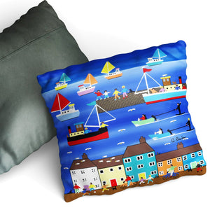 Water Skiing - Cushion by Gordon Barker