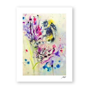 Bee On Purple Flower - Art Print by Jo Allsopp