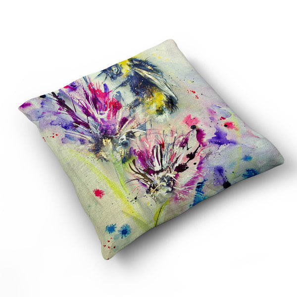 Bee On Purple Flower - Cushion by Jo Allsopp