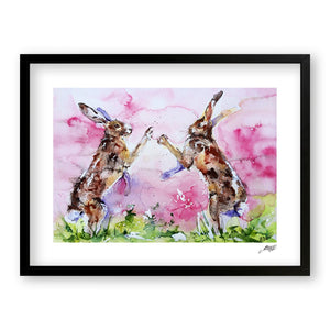 Boxing Hares - Art Print by Jo Allsopp