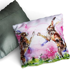Soft Touch Watercolour Hare Cushion by Jo Allsopp