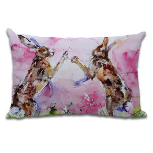 Luxury Watercolour Hare Cushion by Jo Allsopp