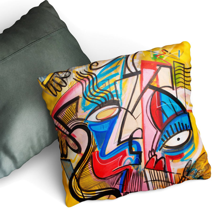 Muddle Up - Cushion by Julian McLaughlan