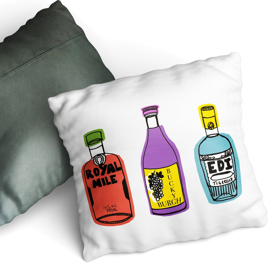 Trio Of Tipples - Cushion by Zoe Neill
